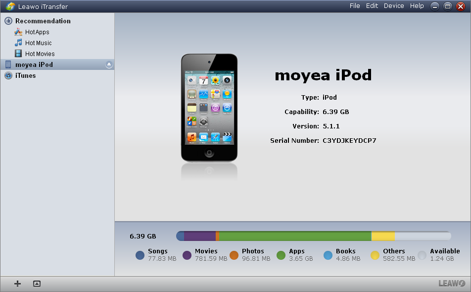 screenshot of iOS file transfer